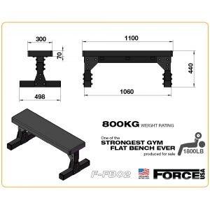 Force USA Επαγγελματικός Επίπεδος Πάγκος Flat Bench F-FB02